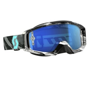 SCOTT TYRANT BRILLE - zebra grey turquoise / electric blue chrome works