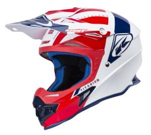 Kenny Titanium Fiberglas Helm - blau weiß rot