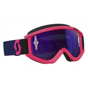 SCOTT RECOILXI BRILLE - blue / fluo pink purple chrome works